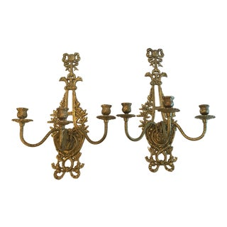 Vintage Mid-Century Brass Wall Sconces - A Pair For Sale