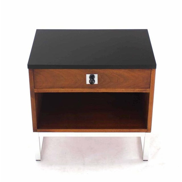 Silver Pair of Walnut & Chrome Nightstands For Sale - Image 8 of 9