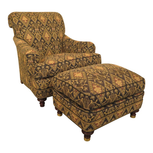 Hancock & Moore Tarleton Upholstered Chair & Ottoman - a Pair For Sale
