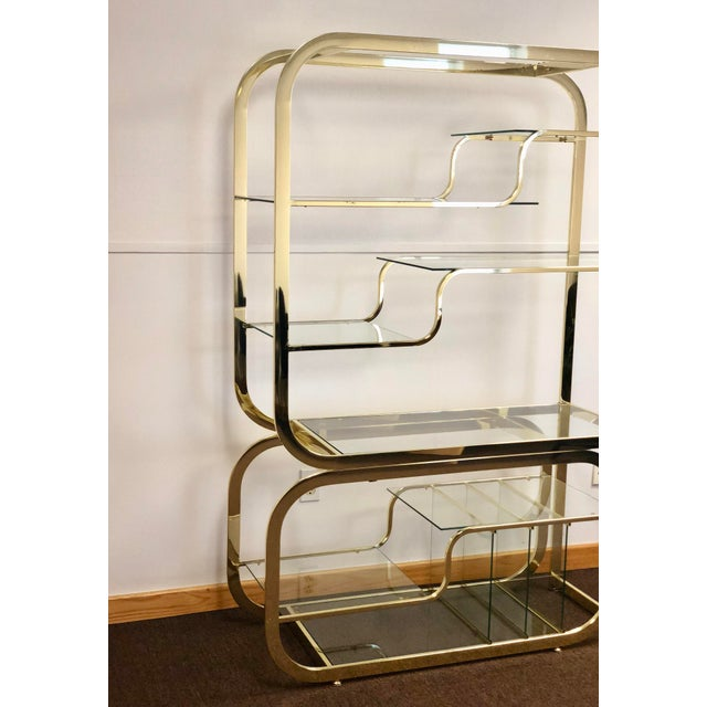 Mid-Century Modern 1970s Milo Baughman for Design Institute of America Brass Etagere For Sale - Image 3 of 9