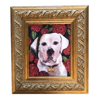 White Pit Bull Dog With Roses Print by Judy Henn For Sale