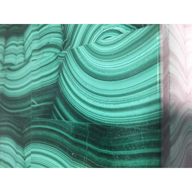 Stone Large Square Bookmatched Malachite Box with Removable Lid Made in India For Sale - Image 7 of 9