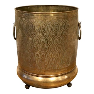 Late 20th Century Moroccan Brass Planter For Sale
