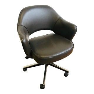 Vintage Knoll Saarinen Chocolate Leather Chair