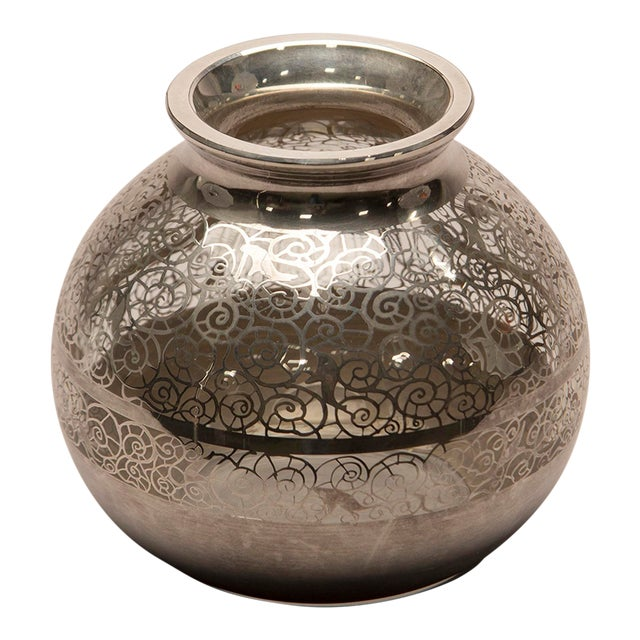 1950s Round Silver Overlay Vase For Sale