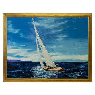 Americana Sailboat Large Framed Oil Painting, by R. Morrow For Sale