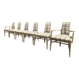 Mid-Century Modern James Mont Style Beige Upholstered Dining Chairs - Set of 6