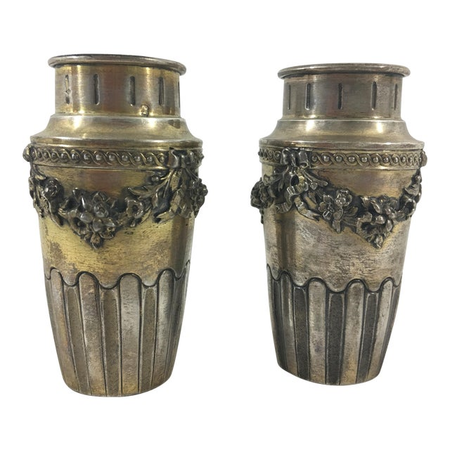 French Napoleon III Sterling Silver Vermeil Miniature Vases - a Pair For Sale