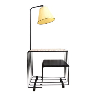 Mid Century Modernist French Iron & Mosaic Tile Table Floor Lamp For Sale