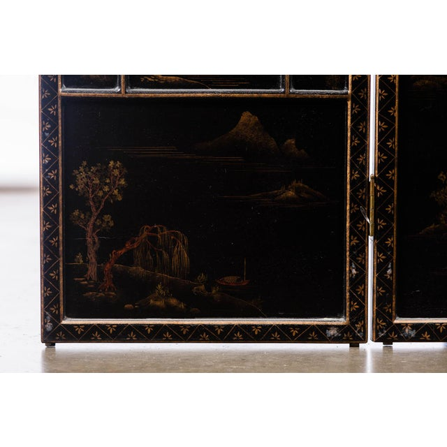 Lawrence & Scott Japanese Large Four-Panel Landscape Scenes With Individual Raised Frames Screen/Room Divider 6 Ft W X 6.5 Ft H by Lawrence & Scott For Sale - Image 4 of 12