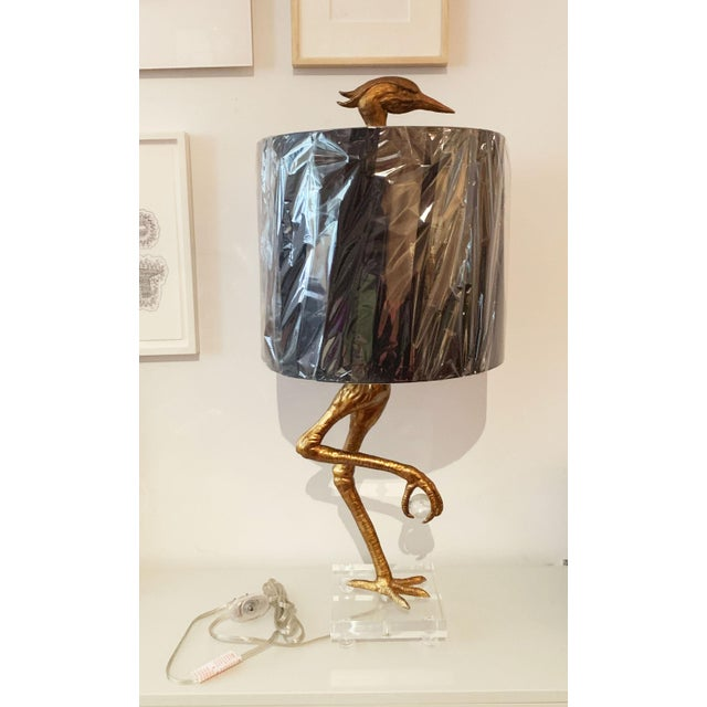 Contemporary Aged Gold Bird Lamp With Black Shade For Sale - Image 3 of 11