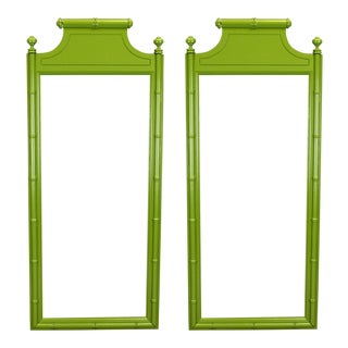 Mid Century Faux Bamboo Mirrors - a Pair