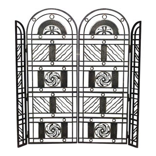 French Art Deco Wrought Iron Filigree Circle Design 4 Panel Gate