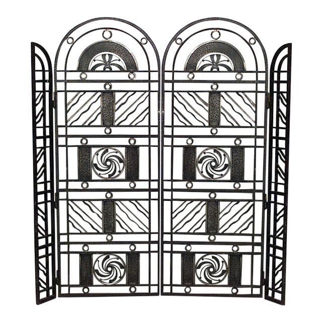 French Art Deco Wrought Iron Filigree Circle Design 4 Panel Gate For Sale