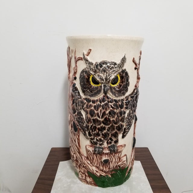 Cream Vintage 1970's Ceramic Owl Umbrella Stand For Sale - Image 8 of 8