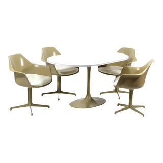 Burke Dining Table and Chairs in the Manner of Eero Saarinen & Charles and Ray Eames For Sale