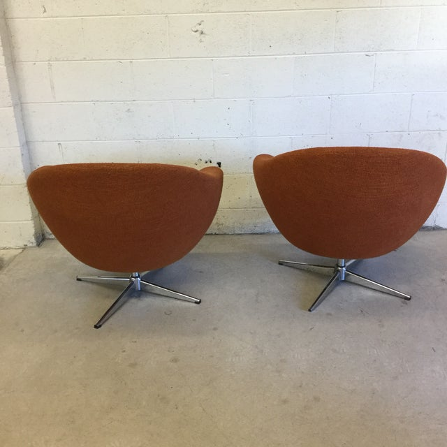 Mid Century Orange Upholster Barrel Swivel Chairs by Burris Industries For Sale - Image 4 of 11