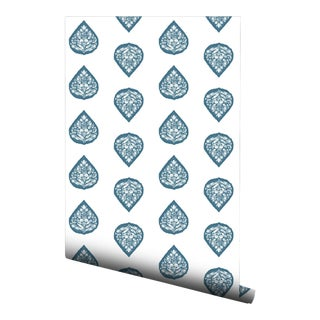 Blue Floral Boteh Pre-Pasted Wallpaper Double Roll