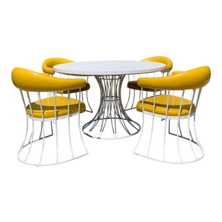 Mid-Century Modern Tulip Base Dining Table & Chairs by Blacksmith Shop For Sale