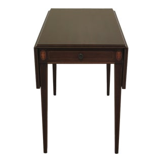 1950s Vintage Inlaid Mahogany Federal Drop Leaf Pembroke Table For Sale