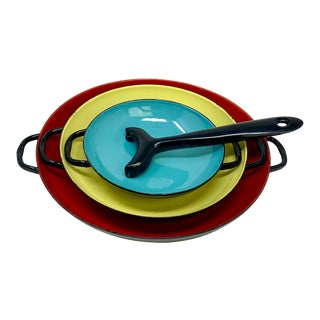 1960's Colorful Italian Enameled Saute & Serve Pans - 4 Pc. Set For Sale