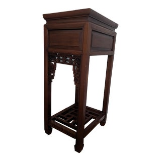 Vintage Chinese Rosewood Plant Stand/Side Table - Pair For Sale