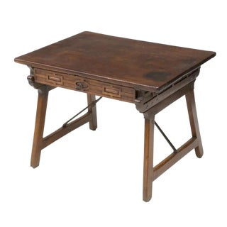 18th Century Spanish Baroque Period Collapsible Campaign Travel Desk ~ Great Side Tabe For Sale