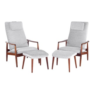 Mid Century Danish Modern Søren Ladefoged for Sl Møbler Teak Lounge Chairs & Ottomans- 4 Pieces For Sale