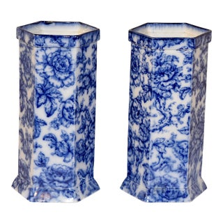 19th C Pair of Flow Blue Vases For Sale