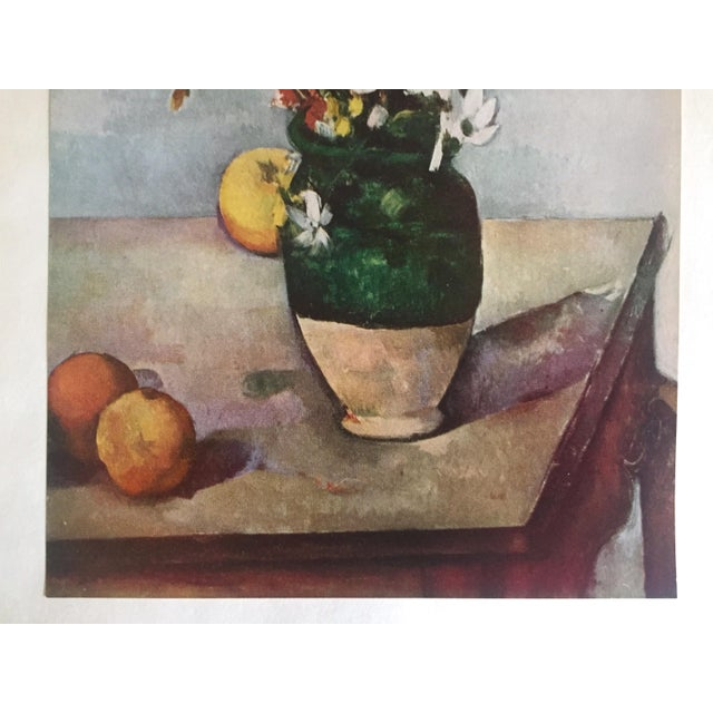 "Country Paul Cezanne Rare Vintage 1952 Post Impressionist Authentic Lithograph Print "" Tulips and Apples "" 1890 For Sale - Image 3 of 7"