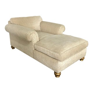 Velvet Upholstered Chaise For Sale