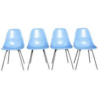 Set of Four Eames Blue Fiberglass Side Chairs For Sale