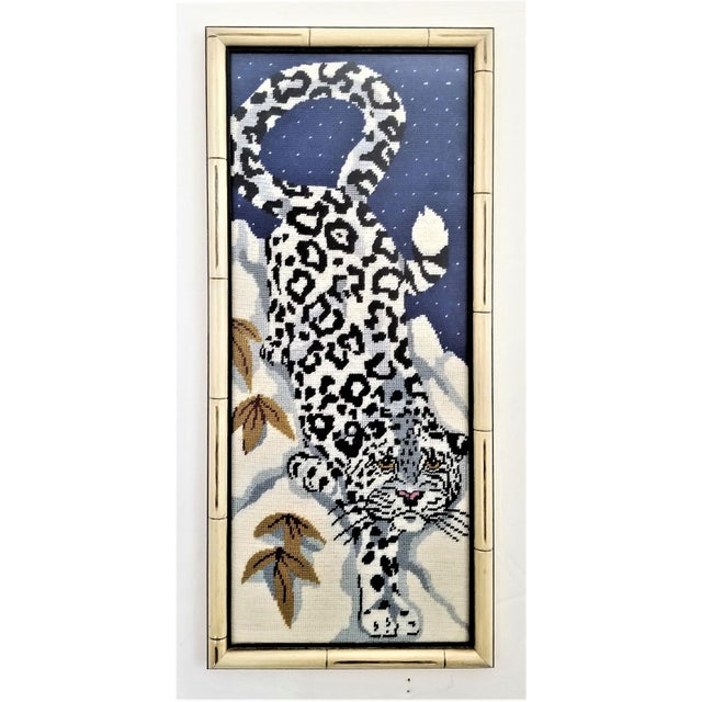 Vintage Chinese Snow Leopard Needlepoint With Faux Bamboo Frame -Signed 1976 - Asian Mid Century Modern Palm Beach Chic Animal Cheetah Tiger For Sale - Image 12 of 12