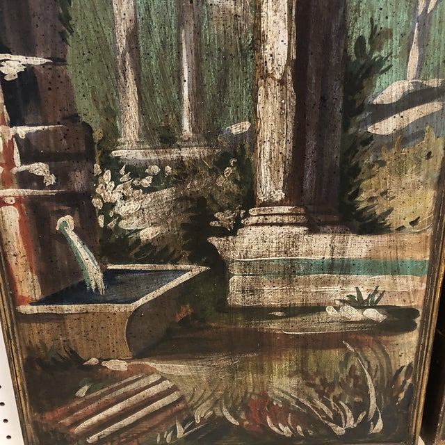 Mid 20th Century Vintage Mid Century Hand Painted Classical Ruins Panels- A Pair For Sale - Image 5 of 10