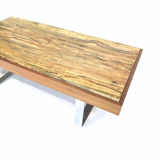 Ilse Möbel Coffee Table With Rare 'Onyx Travertine', Teak & Chrome From Germany For Sale - Image 4 of 12