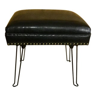 Black Leather Hairpin Stool
