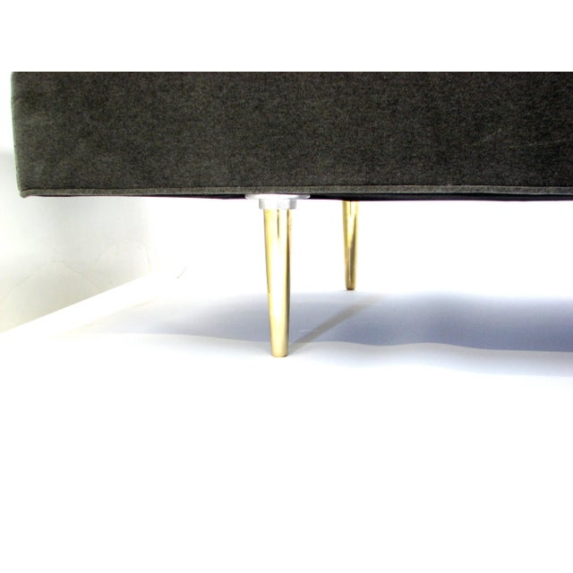 Metal Mid-Century Dunbar Sofa by Edward Wormley in New Velvet Fabric For Sale - Image 7 of 9