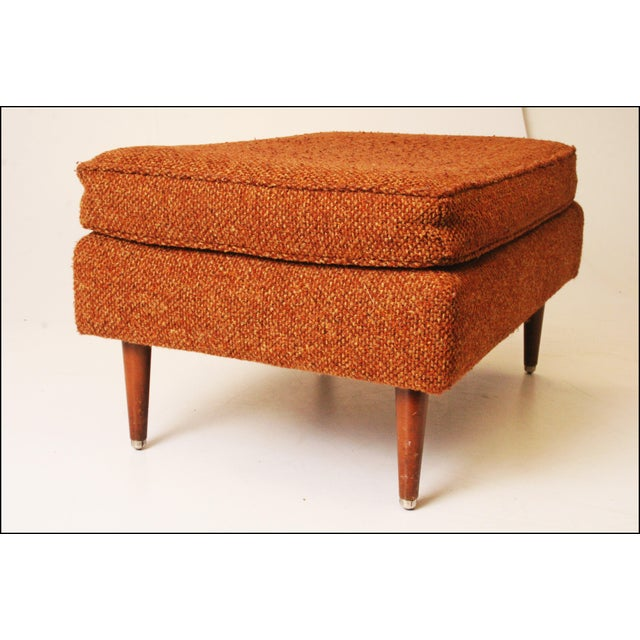 Mid-Century Modern Brown Upholstered Foot Stool - Image 4 of 11