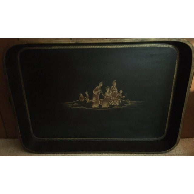 Vintage Chinoiserie Hand Painted Wooden Rectangle Tray Table For Sale - Image 9 of 13