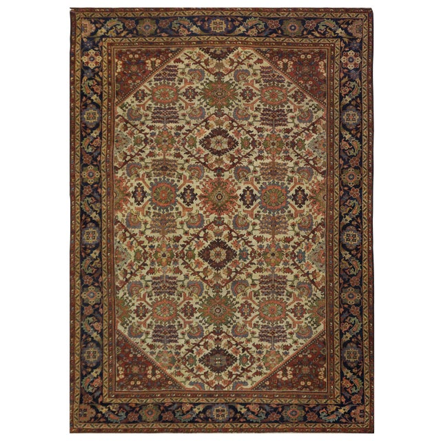 Antique Persian Mahal Rug - 9'3'' x 11'11'' For Sale