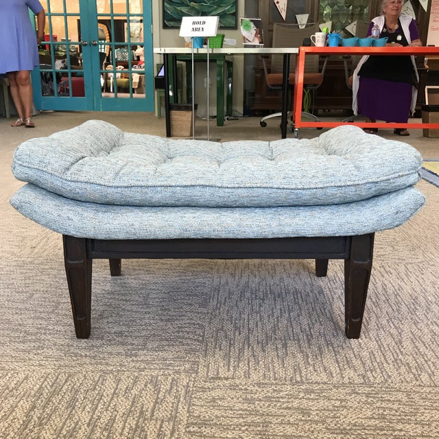 Blue Ming Style Mid-Century Blue Tweed Tufted Ottoman For Sale - Image 8 of 8