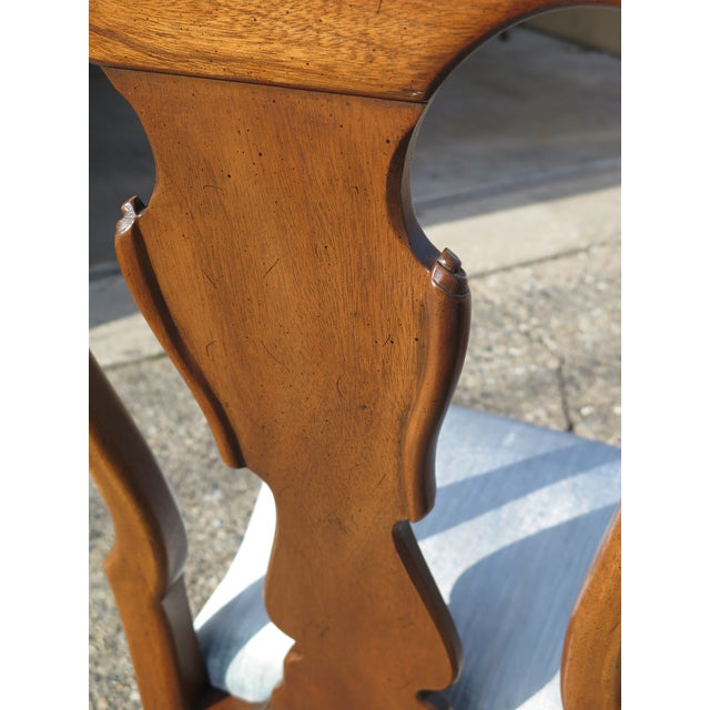 Textile 1980s Vintage Henredon 18th C. Collection Walnut Dining Chairs-Set of 4 For Sale - Image 7 of 9