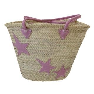 Pink Star Motif Market Basket