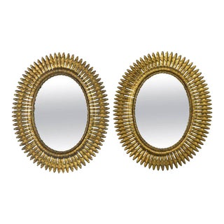 Spanish Gilt Metal Sunburst Mirrors, 1940s - A Pair For Sale