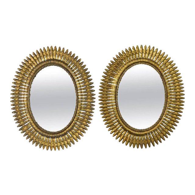 Spanish Gilt Metal Sunburst Mirrors, 1940s - A Pair For Sale