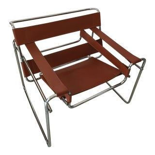 1970s Marcel Breuer Wassily Style Cognac Leather B3 Sling Chair For Sale