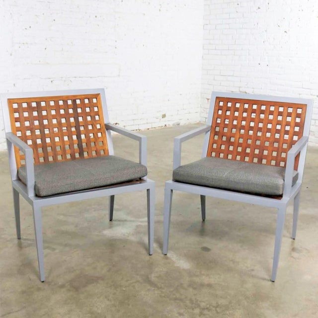 Metal Pair of Aluminum and Teak Archetype Patio Chairs by Michael Vanderbyl for McGuire For Sale - Image 7 of 13