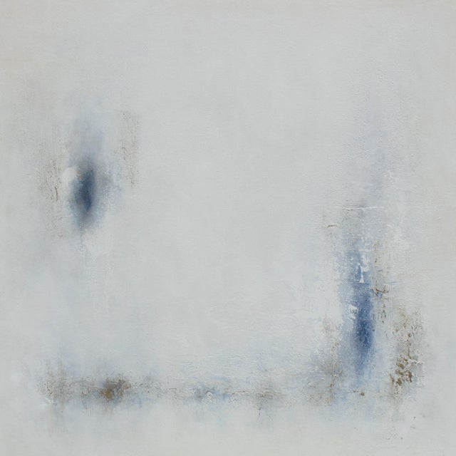 Modern Minimal Large Abstract Neutral Canvas Painting For Sale