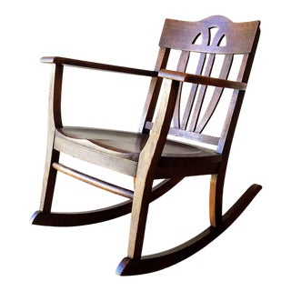 Early 20th Century Arts + Crafts Oak Rocking Chair For Sale