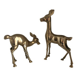 Mid-Century Brass Big Eared Deer Figures - a Pair For Sale